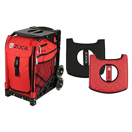Zuca ''Chili'' Sport Insert Bag and Black Frame w/ Flashing Wheels & Gift Seat Cushion by ZUCA