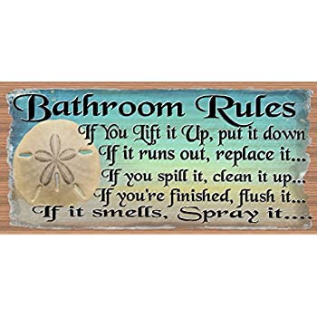 Amazon Com Bathroom Rules Bathroom Decor Bathroom Plaque