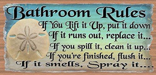 Bathroom Rules - Bathroom Decor - Bathroom Plaque