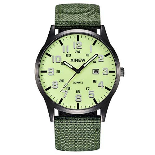 XBKPLO Quartz Watches Men's Fashion Waterproof Analog Wrist Watch Calendar Window Luminous Nylon Strap Business Watch Jewelry Gift (Green)