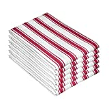 Cotton Clinic Vintage Stripe 100% Cotton Kitchen Dish Towels 6 Pack 16x26, Dish Cloths, Bar Towels, Tea Towels and Cleaning Towels, Kitchen Towels with Hanging Loop, Red White