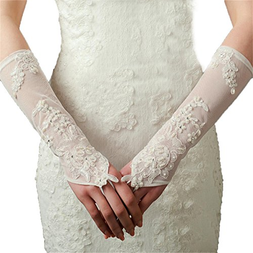 Ivory Lace Elastic Net Bridal Gloves Long Wedding Lace Flowers Gloves by MissDaisy