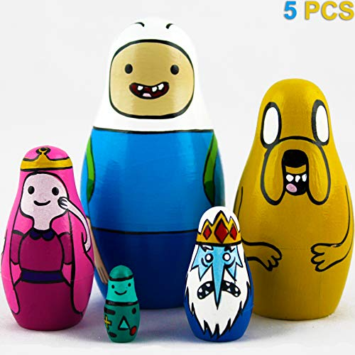 Matryoshka Nesting Dolls Cartoon Adventure Time Set 5 pcs Unique Wooden Toys