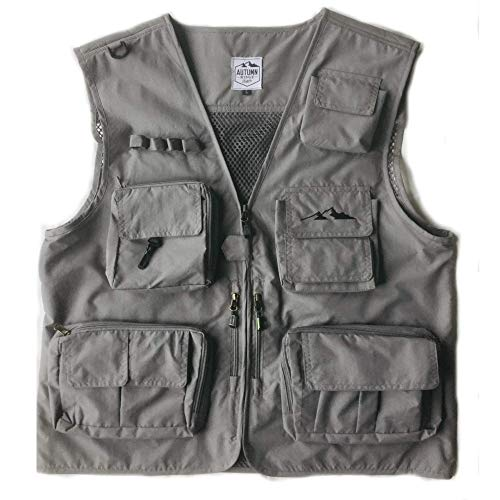 Autumn Ridge Traders Fly Fishing Photography Climbing Vest with 16 Pockets Made with Lightweight Mesh Fabric for Travelers, Sports, Hiking, Bird Watching, River Guide Adventures and Hunting. (Medium)