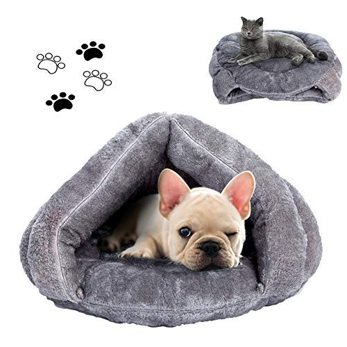 Cat Bed Cat Sleeping Bag Sleep Zone For Puppy Cat Rabbit Bed Small Animals Shearling Sleeping Bag,Grey