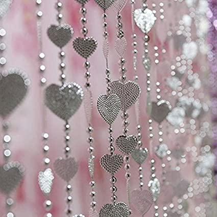 KS Heart Beads Curtain Clear Iridescent Large Beaded Curtains Silver