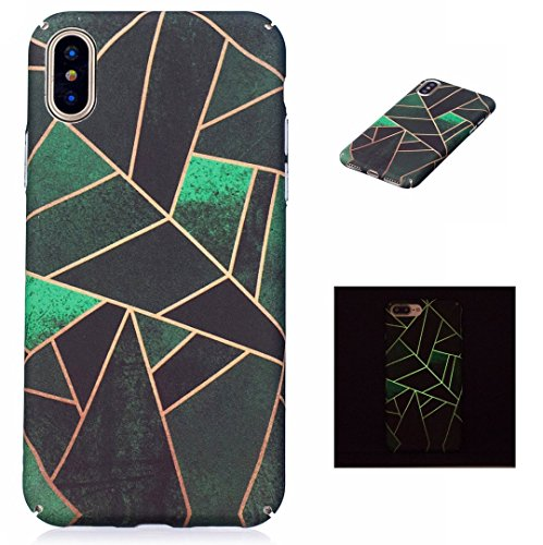 iPhone X Case,iPhone 10 Case,Fusicase Ultra Thin Noctilucent Cover Luminous Shell Leaf/Flamingo/Cat/Grid Pattern Glow In The Dark Case For iPhone X (Ultra Leaf)