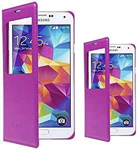 S-VIEW Window FLIP LEATHER Case Cover for SAMSUNG GALAXY S5 i9600 G900 Purple