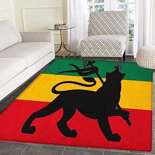 Rasta Rugs for Bedroom Rastafarian Flag with Judah Lion Regg