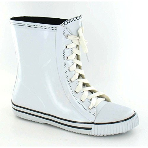 Lace Design Boots Wellington Up On Boot Baseball Spot White Ladies Womens UqnPwnO4