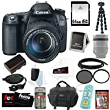 Canon EOS 70D SLR CMOS 20.2MP Digital Camera EFS 18-135mm Lens + 64GB Deluxe Accessory Bundle with Tiffen 67mm Filters