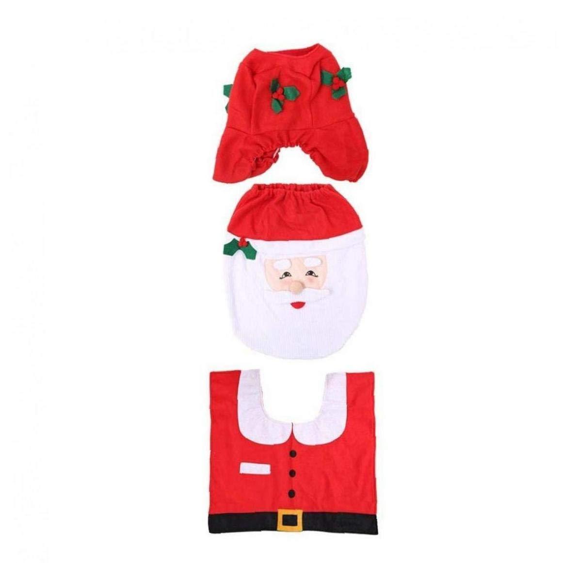 Navidad De Asiento De Inodoro Cubierta Decoraci/ón Aseo Caso Elk Mu/ñeco De Nieve De Santa Claus Con La Estera Del Piso De Tres Piezas Conjunto De Asiento De Inodoro Cubiertas Decoraci/ón Rojo