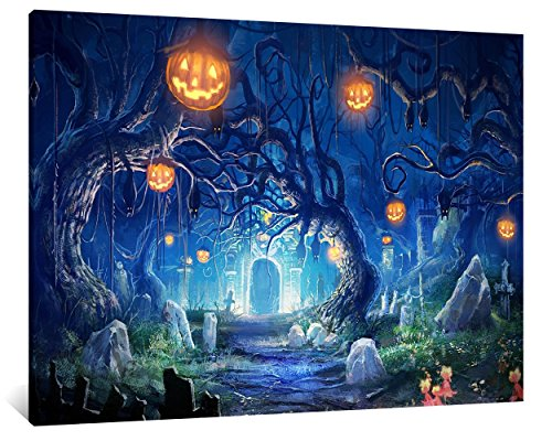 NAN Wind 1Pcs Halloween Decoration Wall Art Scary Night in the Cemetery Halloween Pumpkin Lantern Painting Printed on Canvas Framed And Stretched Ready to Hang for Home Decor Living Room Bedroom -