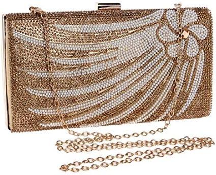 ウィメンズダイヤモンドディナーバッグ、バンケットクラッチバッグ、トートバッグ、ショルダーバッグクロスボディ(カラー:ゴールド) 美しいファッション (Color : Gold)