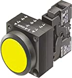Siemens 3SB3251-0AA31 Pushbutton Unit, Flat Button, Momentary Operation, Illuminated, 110VAC/VDC Integrated LED, 1 NO + 1 NC Contact Type, Yellow