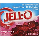 Jell-O Sugar-Free Gelatin Dessert, Raspberry, 0.30-Ounce (Pack of 6)
