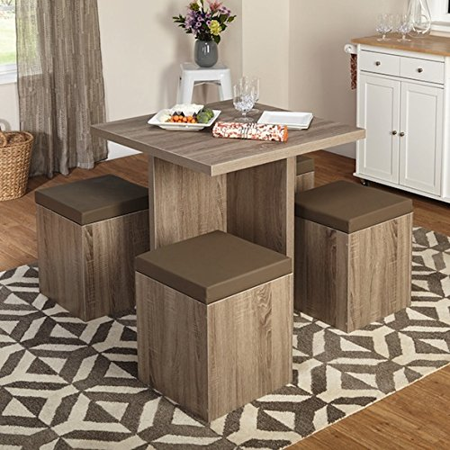 Simple Living 5-piece Baxter Dining Set with Storage Chair Ottomans (Taupe) (With Breakfast Table 4 Chairs)