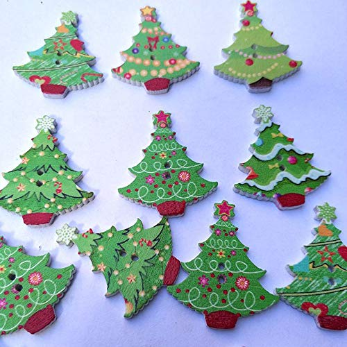 Pukido 50Pcs Christmas Tree Shape Cartoon Button Painted Printing Buttons 2 Holes Wooden Button 2018 New -