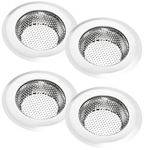 Korlon 4 Pack Stainless Steel Kitchen Sink Strainer, Mesh Sink Screen, Durable Sink Strainer Basket with Large Wide Rim 4.5