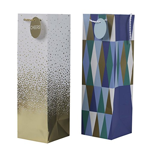 Hallmark Holiday Bottle Gift Bags, Cheers and Geometric (Pack of 2)