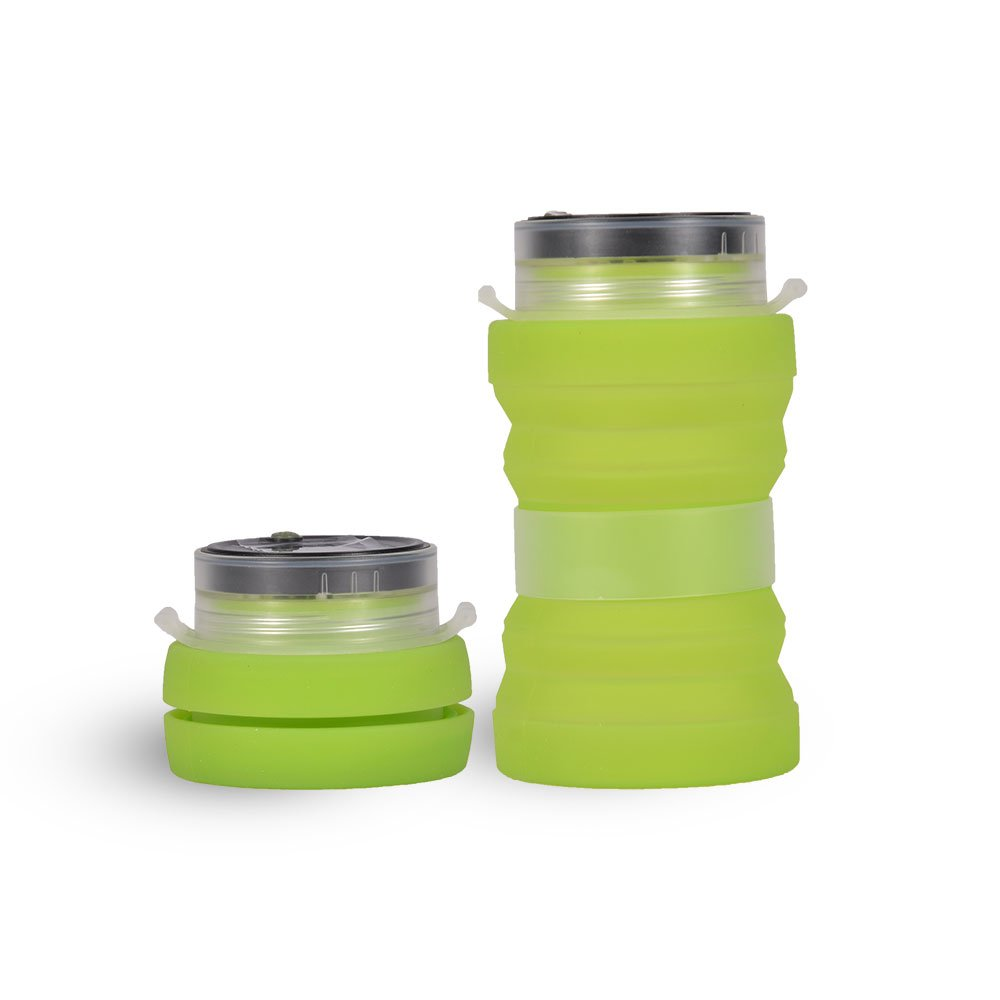 Coton Deal Collapsible Water Bottle - Solar Charging Board/LED Lantern/Compass/Flintstone/Food-Grade Silicone 16.9oz (Green)