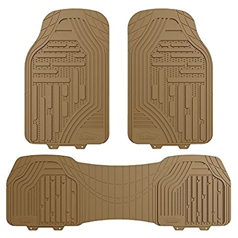 FH GROUP FH-F11322 Supreme Rubber Trimmable Heavy Duty Floor Mats, Solid Beige (Vw Jetta Floor Mats 2010)