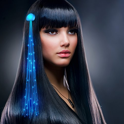 Blue Fiber Optic LED Hair Clip Extensions (Set of 12)