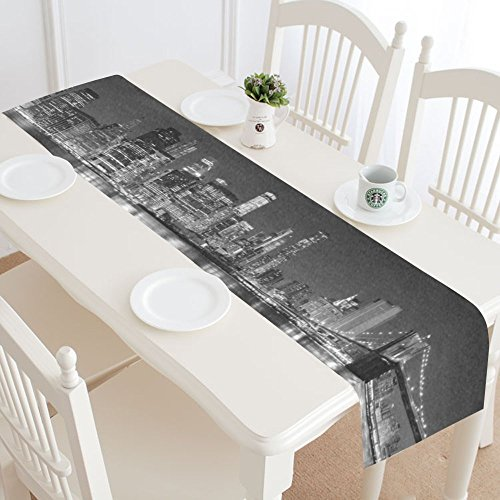 INTERESTPRINT New York Skyline Table Runner Home Decor 14 X 72 Inch, Mondern Cityscapes Table Cloth Runner for Wedding Party Banquet -
