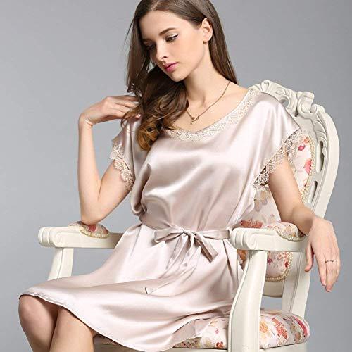 Ropa Suave Camisón Dormir Manga Basic Elegante Silber De Cómodo Manera Color La Corta Sólido Verano Pijama Señoras Bata Las 6ZpF6