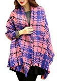 Urban CoCo Women's Double Sided Plaid Woven Scarf Blanket Shawl Wrap Poncho with Fringe Trims (pink)