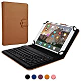 7 - 8'' inch tablet keyboard case, COOPER BACKLIGHT EXECUTIVE 2-in-1 Backlit LED Bluetooth Wireless Keyboard Leather Travel Carrying Cases Cover Holder Folio Portfolio Stand with 7 Colors (Tan)