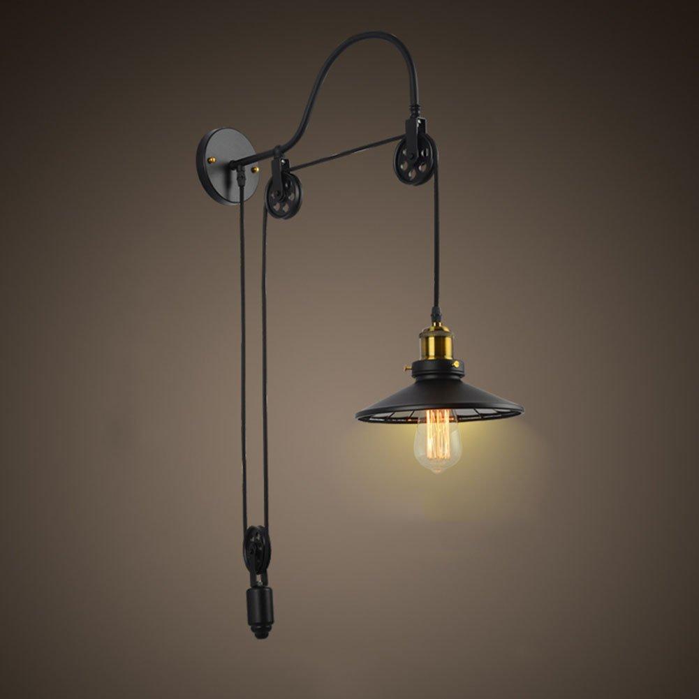 Add Retro- Wandlampe des Dachbodens Industrielles Windrestaurant-Korridorgang Hebeseilrollenwandlampe E27  1
