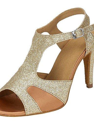 La mode moderne Sandales femmes personnalisables Chaussures de Danse Tango Salsa Glitter mousseux Ballroom Dance Shoes Heels Talon Or Performance sur mesure,Gold,9.5-10 / EU41 / UK7.5-8 / CN42