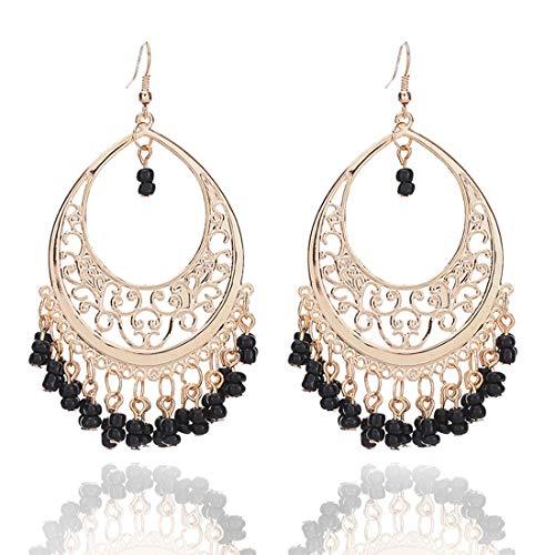 Bohemian Chandelier Coin Sequins Dangle Drop Earrings Ethnic Gypsy Beads Tassel Hoops with Disc Charms Boho Ear Jewelry Women-black beads ()