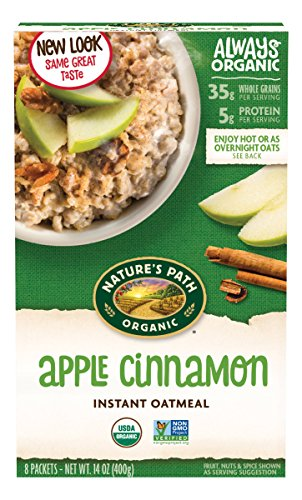 Nature's Path Organic Instant Hot Oatmeal, Apple Cinnamon, 14 Ounce (Pack of 6)