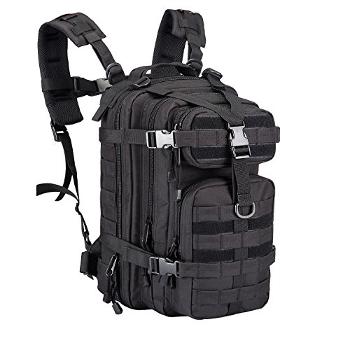30L Outdoor Small Assault Tactical Backpack Military Sport Camping Hiking Trekking Bag 08009 (Black)
