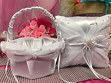 Amazon Wedding White Satin Pillow And Basket Reception Party