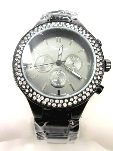 Geneva Black Tone Classic White Crystal diamond case Round Watch. Faux Chronograph (Diamond White Dial Watch)
