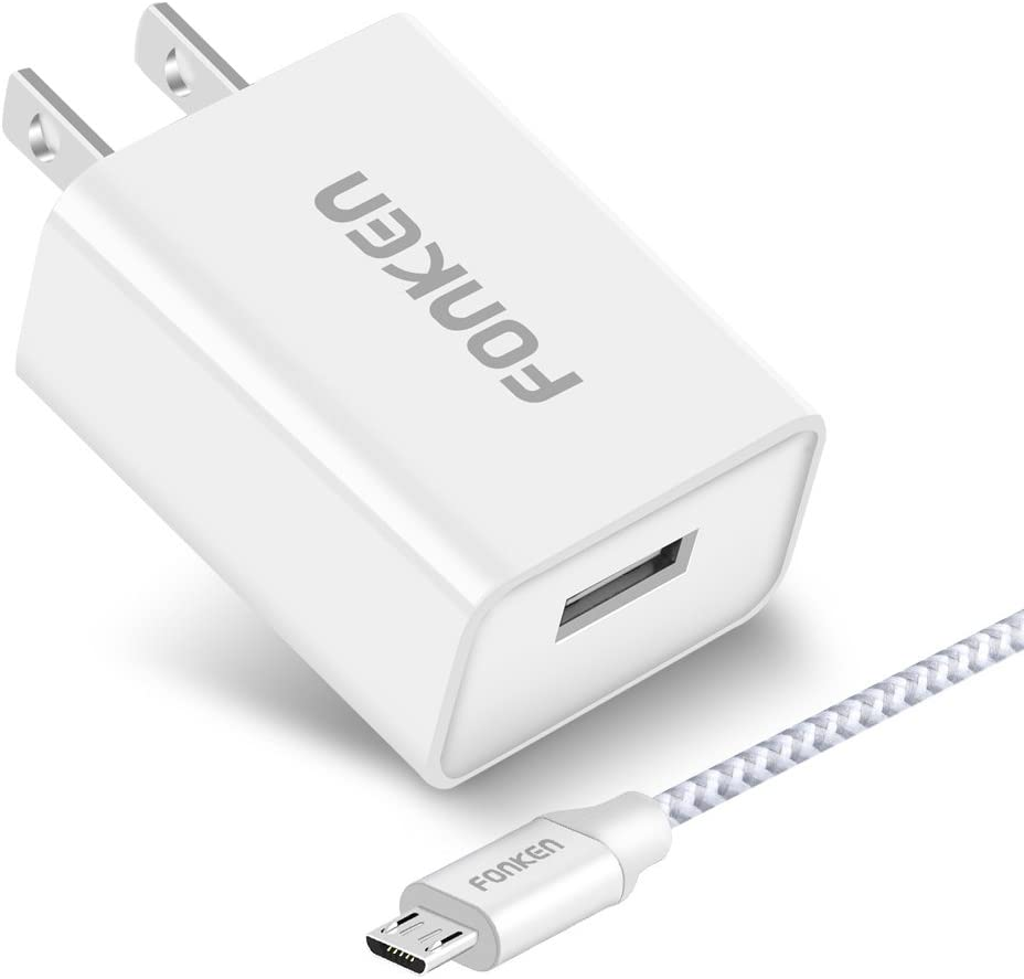 LG G5 V20 Quick Charge 3.0 Nexus6 White FONKEN 18W USB Travel Wall Charger QC 3.0 Phone Charger Adapter with Micro USB Cable USB Plug with Smart IC for Compatible Samsung Galaxy S7 S6
