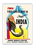 First Choice Way to India - Trans World Airlines TWA - Vintage Airline Travel Poster by Frank Soltesz c.1950s - Fine Art Print - 44in x 60in