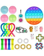 24 Pcs Fidget Toy Set, Cheap Sensory Fidget Toys Pack for Kids or Adults, Figetget Toys Pack Figit Toys, Fidget Box with Marble Mesh Stress Ball &More (Round Pop-its Simple Dimple)