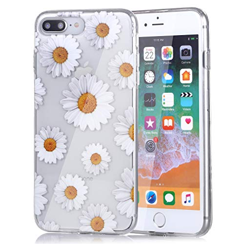 Clear Slim Fit Flower Floral Design Soft Flexible TPU Silicone Back Cover Phone Case Compatible with iPhone 7 Plus and iPhone 8 Plus- Little Daisies