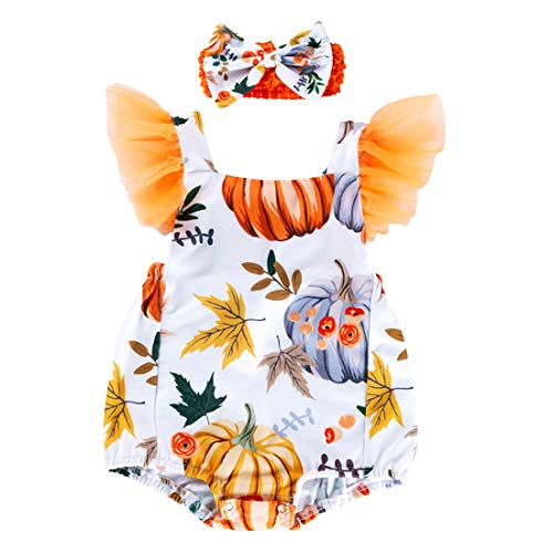 Toddler Baby Girl Romper Halloween Bodysuit Pumpkin Leaf Print Headband Jumpsuit Outfit for Infant (White, 0-3 Month)