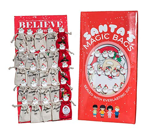 Cloud9idea Santa's Magic Bags for Girls & Boys   Holiday Countdown Wall Decor with Burlap Pockets   Pouches for Personalized Christmas Gift List of Kids & Adults   Reusable Toy, Candy, Jewelry Bag -