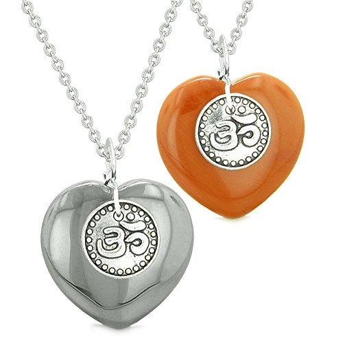 - Spiritual OM Amulets Love Couples or Best Friends Magic Hearts Hematite Red Jasper Necklaces