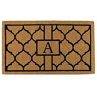 Home & More 180081830A Pantera Extra-Thick Doormat, 18  x 30  x 1.50 , Monogrammed Letter A, Natural/Black