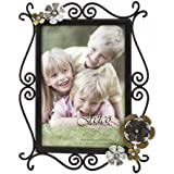 Fetco Home Décor Lowndes Picture Frame Corner Floral with Side Scrolls and Clear Stones, Fashion Metals, 5 by 7-Inch, Bronze
