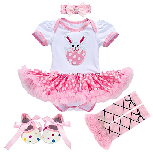 Newborn Baby Toddler Girl 1st Easter Rabbit Romper Tutu Dress+Headband+Leg Warmers Shoes Outfits 3pcs/4pcs Cotton Clothes Set 4pcs Pink Rabbit Bunny 3-6 -