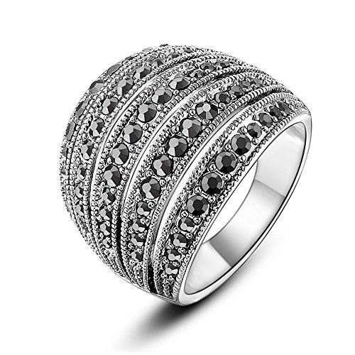 Mytys Vintage Classic Black Marcasite Crystal Rows Statement Silver Band Rings(9) by Mytys