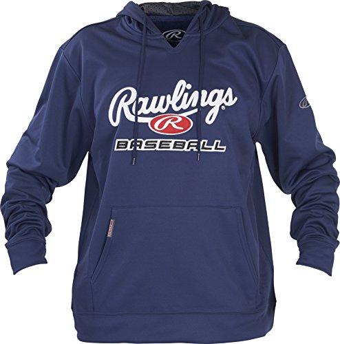 - Rawlings Unisex Youth Fleece Baseball Hoodie, Navy/White, Medium